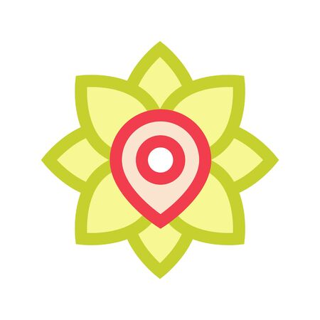 A point in a flower indicates the location of a flower shop, pharmacy or gym, area of application of flowers, yoga, medetsina Banque d'images - 133429439