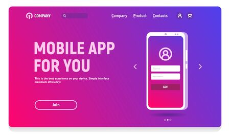 Website header with banner for mobile application, illustration of phones with a start screen