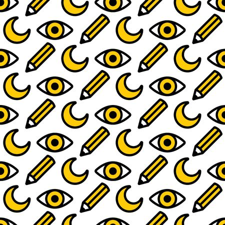 seamless pattern moon eye pencil, for kids studio, teaching children how to draw