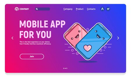 Website header with banner for mobile application, mobile dating application, love of relationship