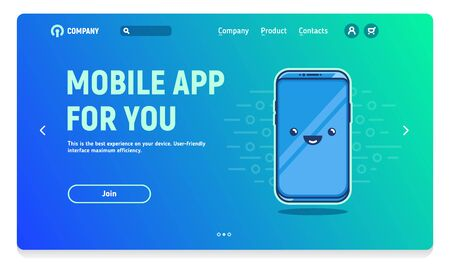 Website header with banner for mobile application, illustration of friendly phones Vectores
