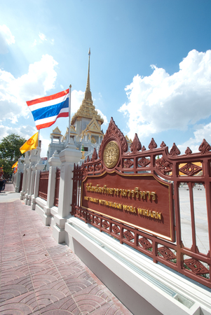 Bangkok, Thailand. In front of Wat traimit witthayaram worawihan or Temple of the golden buddha. temple located near Thailand China town
