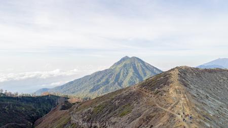 Aerial shot of Kawah Ijien, Indonesia