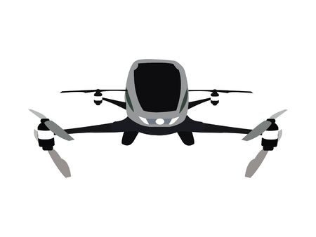 Dron flying taxi vector illustration.