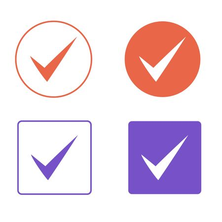 Vector Set of Flat Design Check Marks Icons. Different Variations of Ticks Represents Confirmation, Right, Task Completion, Voting, etc. Isolated on White Background. NEW
