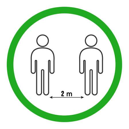 Social Distancing 2 m Icon Vector Illustration