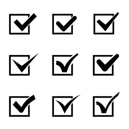 Set of nine different black and white vector check marks or ticks in boxes conceptual of confirmation acceptance positive passed voting agreement true or completion of tasks on a list NEW.. Ilustração