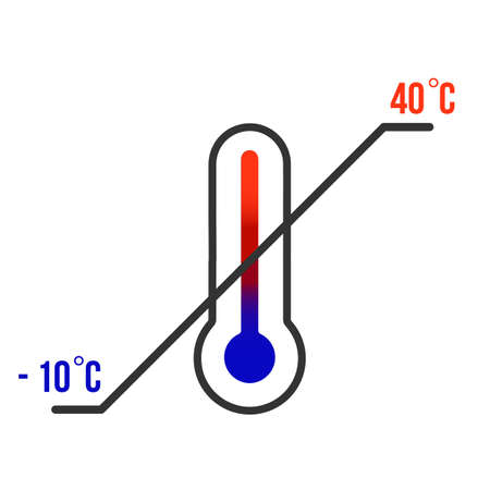 Thermometer. Storage temperature range symbol. Black thermometer icon with diagonal line and degrees sign value. Some standard versions and legend included.