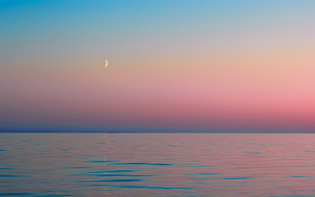 onega: The moon and rose sky reflected in the calm waters of Lake Onega during the White Nights