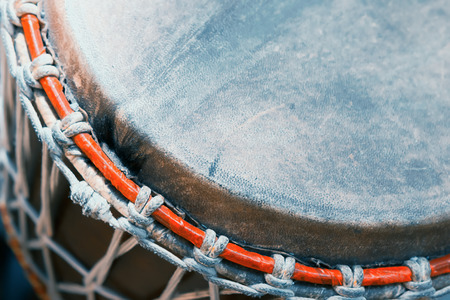 bongo drum: Part of the old African bongo drum closeup.