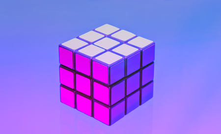 Moscow, Russia - April 8, 2018: Rubik's cube on the lilac-blue background, ultra violet toned. 3-D combination puzzle Rubik's Cube, originally called the Magic Cube, invented by a Hungarian architect Erno Rubik in 1974.