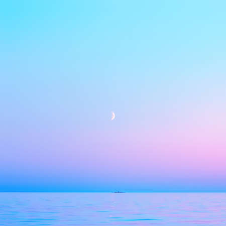 Cloudless pink and blue sky with a crescent moon reflected in the water surface in the White Nights season. Abstract square blurred background of calm seascape with copy space. Lake Onega, Russia.