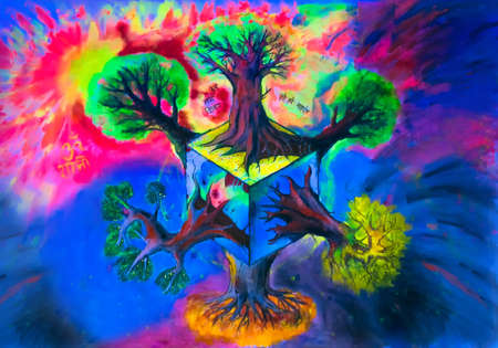 Psychedelic drawing on fabric by acrylic paints and markers - Multidimension Trees with Sanskrit mantras (Om Namah Shivaya, Hare Hare Mahadev). Visionary art by Artem Begutov shot in ultraviolet.