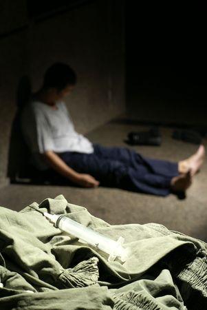 drogadicto: Jeringa y sin hogar drogadicto