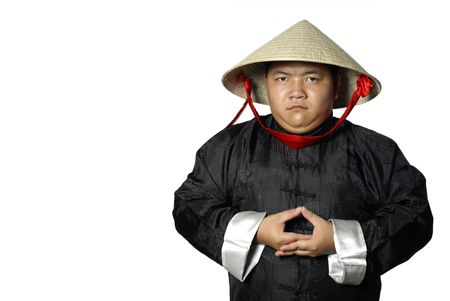 conical: Traditional asian man standing with conical straw hat Stock Photo