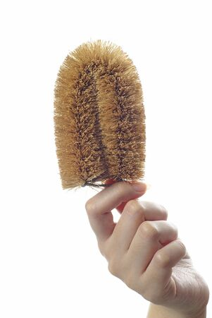 scrubber: Female hand holding washing scrubber on white