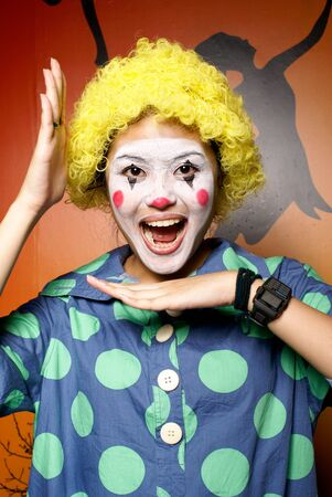 clowning: Happy yellow hair clown lady