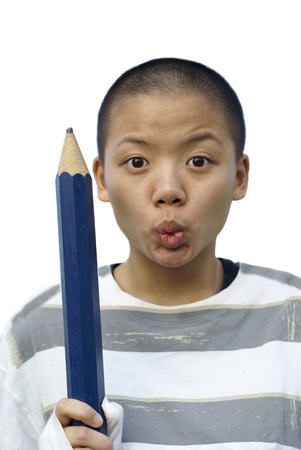 Bald chinese female teen with big pencil photo