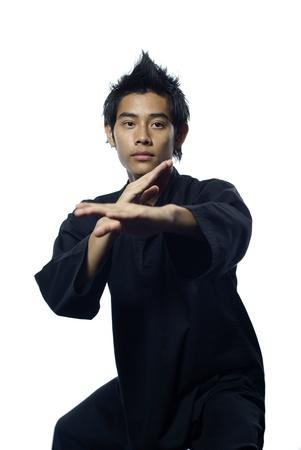 defensive posture: Malay silat martial arts defensive stance