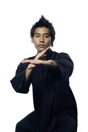 defensive posture: Postura defensiva de artes marciales de silat malayo