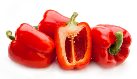 bell peper: Red pepper isolated on white background Stock Photo