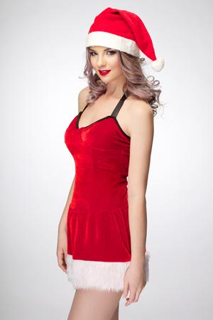red dress: beautiful sexy Christmas girl wearing red dress