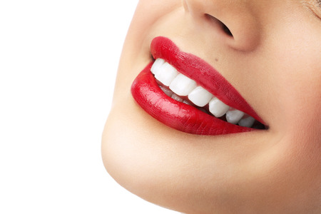 red lipstick and white teeth Imagens - 39759020