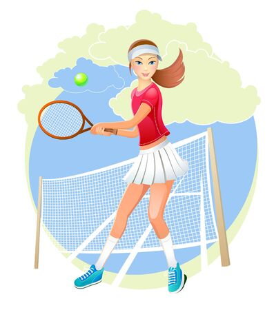 tennis girl: sportswoman Illustration
