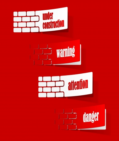 collection sign warning in the form of stickers Vector