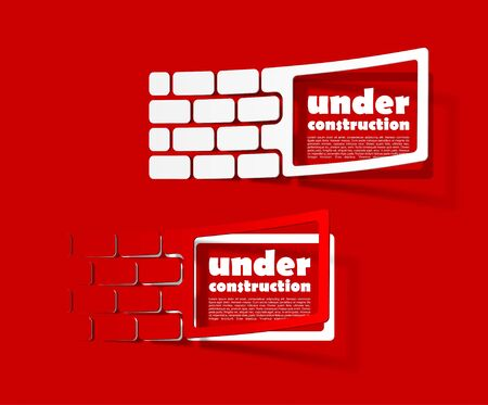 under construction sign: collection sign warning in the form of stickers