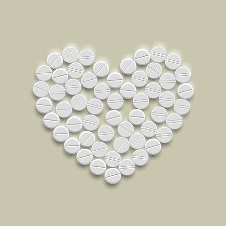 Heart of pills Stock Vector - 18361293