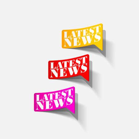 latest news, realistic sticker Illustration