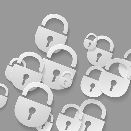 padlock, 3D style abstract of flat icons Vector
