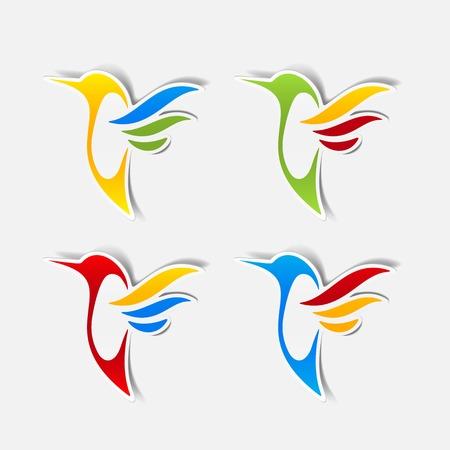 sticker colibr� Vettoriali