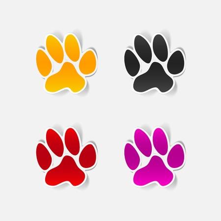 petshop: sticker animal paw, realistic design element