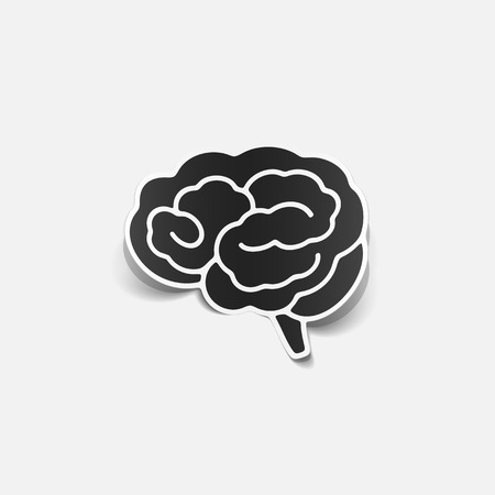 brain sticker, realistic design element Vector