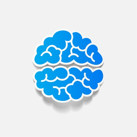 brain icon: realistic design element: brain. Vector Illustration