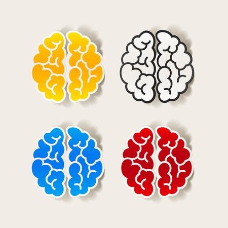 현실적인 디자인 요소 : 두뇌. 벡터 일러스트 레이션 일러스트