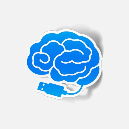 realistic design element: brain-usb, plug. Vector Illustration