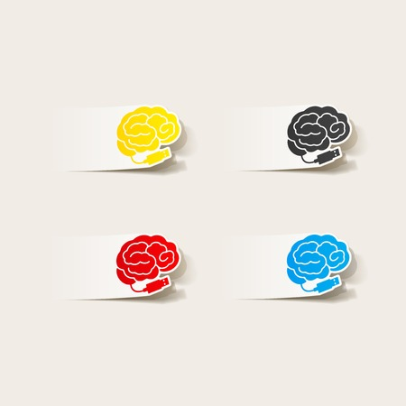 realistic design element: brain-usb, plug. Vector Illustration Vector