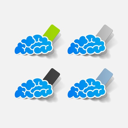 seam: realistic design element: brain, rectangle, seam Illustration