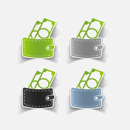 realistic design element: purse, money Vector