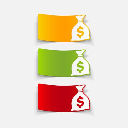 burlap bag: realistic design element: money, sack