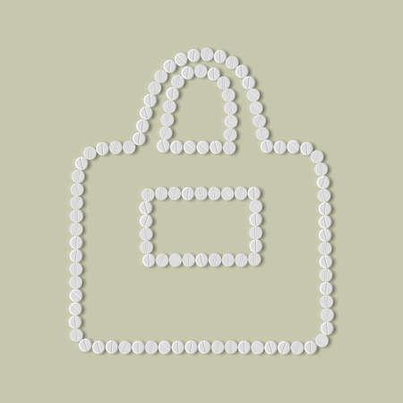 pillen concept: tas, mode Stock Illustratie