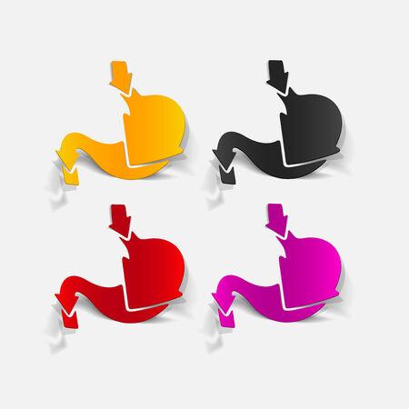 sistema digestivo: elemento de diseño realista: estómago, médico