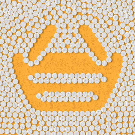 retail therapy: pills concept: shopping, basket Illustration