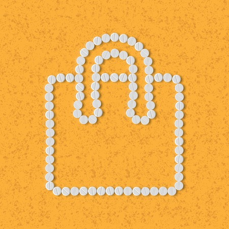 retail therapy: pills concept: shopping, bag, package