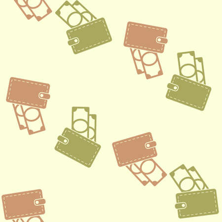 seamless background, purse, money Vector