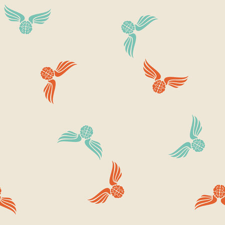seamless background, wing, feather, angel, brain Vector