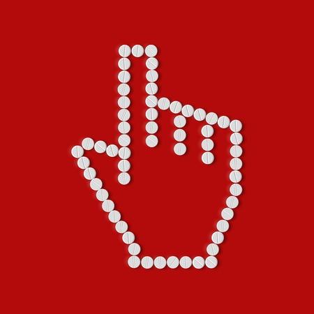 pills concept, cursor, hand Vector